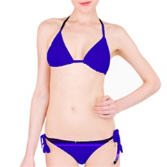 Blue Fractal Square Button Bikini Set