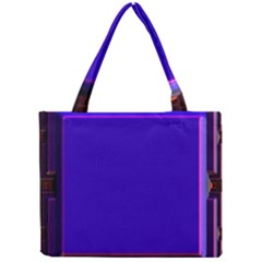 Blue Fractal Square Button Mini Tote Bag by Simbadda