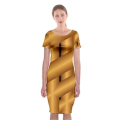 Fractal Background With Gold Pipes Classic Short Sleeve Midi Dress