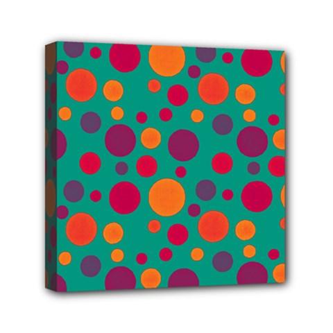 Polka Dots Mini Canvas 6  X 6  by Valentinaart