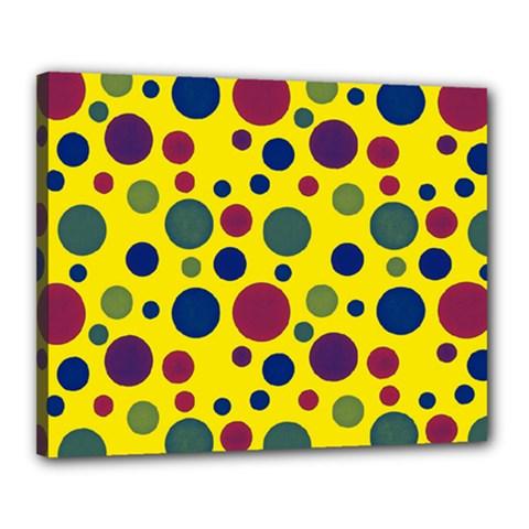 Polka Dots Canvas 20  X 16  by Valentinaart