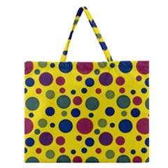 Polka Dots Zipper Large Tote Bag by Valentinaart