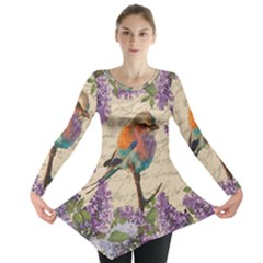 Vintage Bird And Lilac Long Sleeve Tunic  by Valentinaart