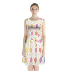Balloon Star Rainbow Sleeveless Chiffon Waist Tie Dress by Mariart