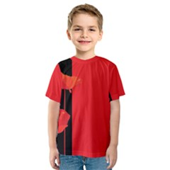 Flower Floral Red Back Sakura Kids  Sport Mesh Tee by Mariart