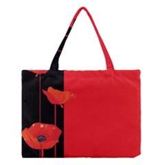 Flower Floral Red Back Sakura Medium Tote Bag by Mariart
