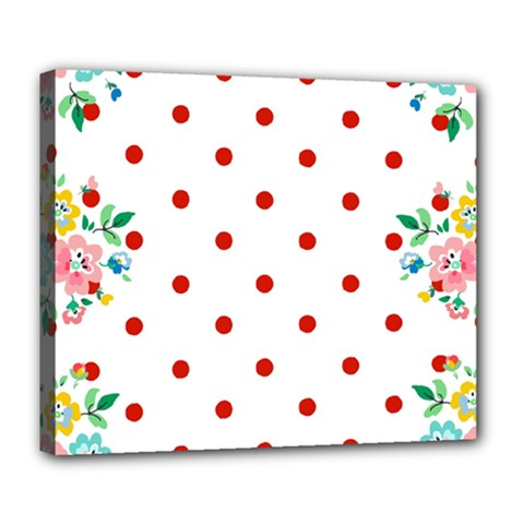 Flower Floral Polka Dot Orange Deluxe Canvas 24  X 20   by Mariart