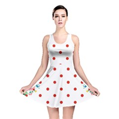 Flower Floral Polka Dot Orange Reversible Skater Dress by Mariart