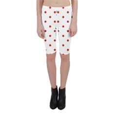 Flower Floral Polka Dot Orange Cropped Leggings  by Mariart
