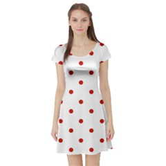 Flower Floral Polka Dot Orange Short Sleeve Skater Dress by Mariart