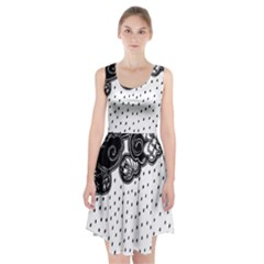 Batik Rain Black Flower Spot Racerback Midi Dress by Mariart