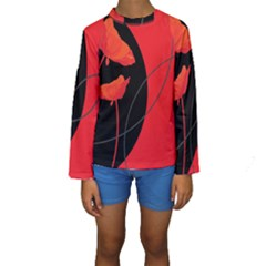 Flower Floral Red Black Sakura Line Kids  Long Sleeve Swimwear by Mariart