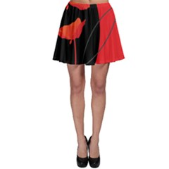 Flower Floral Red Black Sakura Line Skater Skirt by Mariart