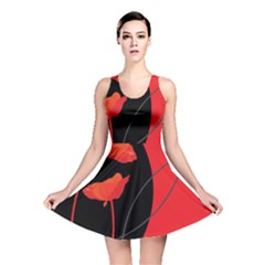 Flower Floral Red Black Sakura Line Reversible Skater Dress by Mariart