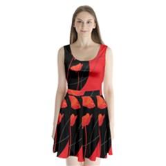 Flower Floral Red Black Sakura Line Split Back Mini Dress  by Mariart