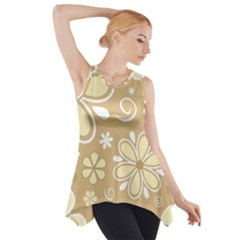 Flower Floral Star Sunflower Grey Side Drop Tank Tunic by Mariart
