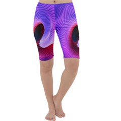 Digital Art Spirals Wave Waves Chevron Red Purple Blue Pink Cropped Leggings  by Mariart