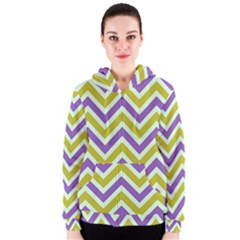Zig Zags Pattern Women s Zipper Hoodie by Valentinaart