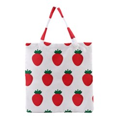 Fruit Strawberries Red Green Grocery Tote Bag by Mariart