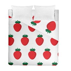 Fruit Strawberries Red Green Duvet Cover Double Side (full/ Double Size) by Mariart