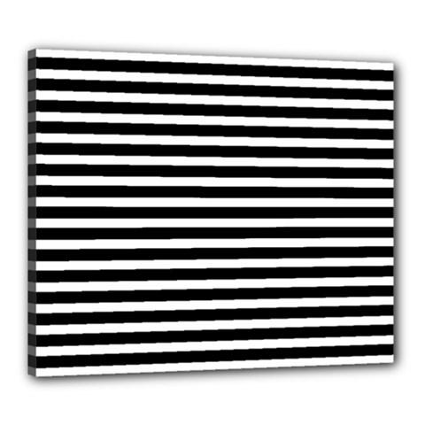 Horizontal Stripes Black Canvas 24  X 20  by Mariart