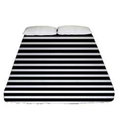 Horizontal Stripes Black Fitted Sheet (queen Size) by Mariart