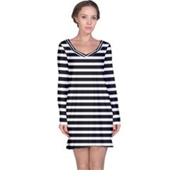 Horizontal Stripes Black Long Sleeve Nightdress by Mariart