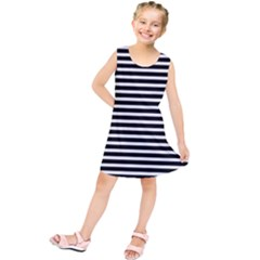 Horizontal Stripes Black Kids  Tunic Dress by Mariart