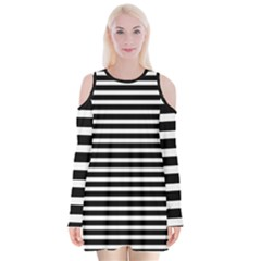 Horizontal Stripes Black Velvet Long Sleeve Shoulder Cutout Dress by Mariart