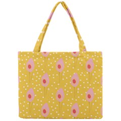 Flower Floral Tulip Leaf Pink Yellow Polka Sot Spot Mini Tote Bag by Mariart
