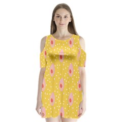 Flower Floral Tulip Leaf Pink Yellow Polka Sot Spot Shoulder Cutout Velvet  One Piece by Mariart