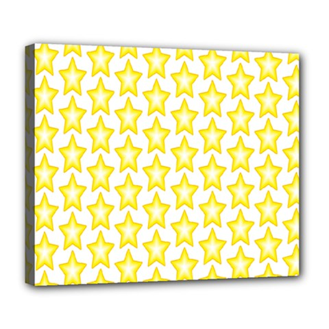 Yellow Orange Star Space Light Deluxe Canvas 24  X 20   by Mariart