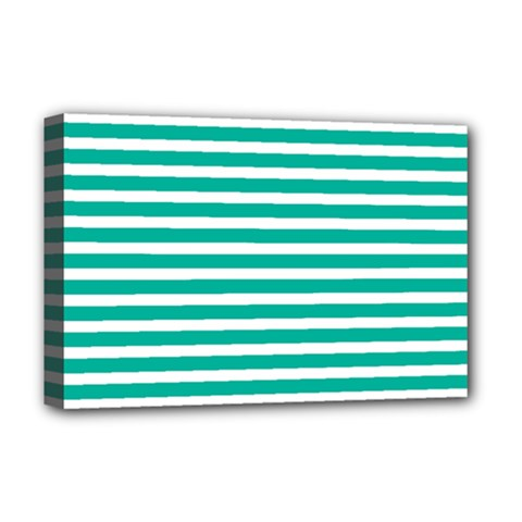 Horizontal Stripes Green Teal Deluxe Canvas 18  X 12   by Mariart