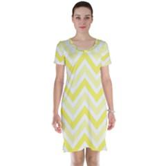 Zig Zags Pattern Short Sleeve Nightdress by Valentinaart