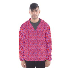 Red White And Blue Leopard Print  Hooded Wind Breaker (men) by PhotoNOLA
