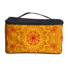Solar Mandala  Orange Rangoli  Cosmetic Storage Case by bunart