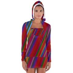 Color Stripes Pattern Women s Long Sleeve Hooded T Shirt