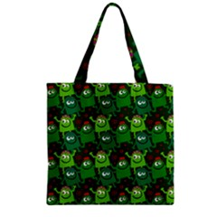Seamless Little Cartoon Men Tiling Pattern Zipper Grocery Tote Bag by Simbadda