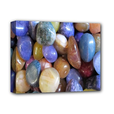 Rock Tumbler Used To Polish A Collection Of Small Colorful Pebbles Deluxe Canvas 14  X 11  by Simbadda