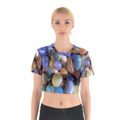 Rock Tumbler Used To Polish A Collection Of Small Colorful Pebbles Cotton Crop Top by Simbadda