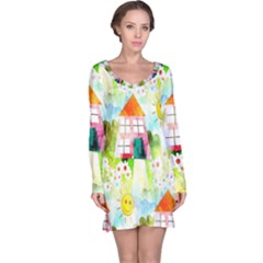 Summer House And Garden A Completely Seamless Tile Able Background Long Sleeve Nightdress by Simbadda
