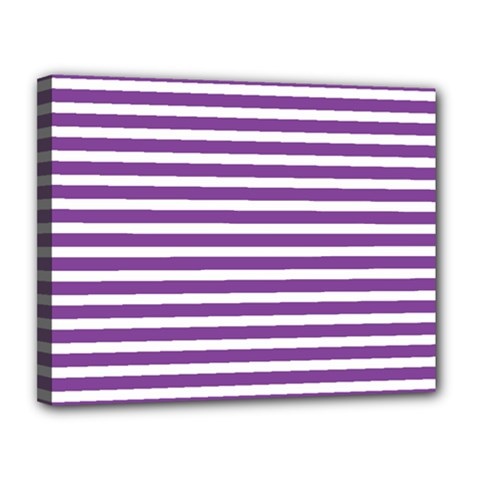 Horizontal Stripes Purple Canvas 14  X 11  by Mariart