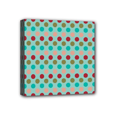 Large Colored Polka Dots Line Circle Mini Canvas 4  X 4  by Mariart