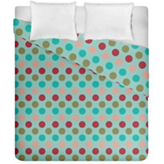 Large Colored Polka Dots Line Circle Duvet Cover Double Side (california King Size) by Mariart