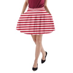 Horizontal Stripes Red A Line Pocket Skirt by Mariart