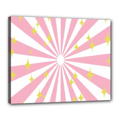 Hurak Pink Star Yellow Hole Sunlight Light Canvas 20  X 16  by Mariart