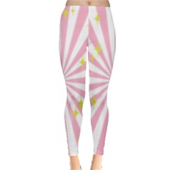 Hurak Pink Star Yellow Hole Sunlight Light Leggings  by Mariart