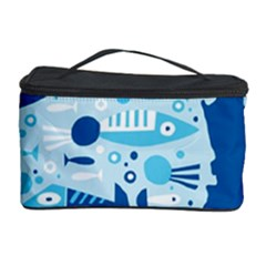 New Zealand Fish Detail Blue Sea Shark Cosmetic Storage Case by Mariart