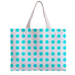 Polka Dot Blue White Zipper Mini Tote Bag by Mariart