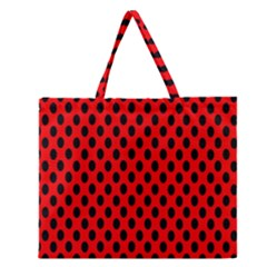 Polka Dot Black Red Hole Backgrounds Zipper Large Tote Bag by Mariart